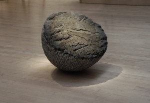 "Raked Cone, 2005, basalt, 24"" x 28"" diameter"