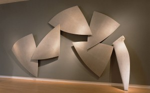 "Bow, 2002, marble and composite materials, 10'h x 17'w x 18""d"